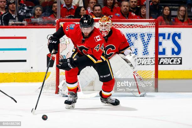 Matt Bartkowski of the Calgary Flames skates against the Los Angeles Kings during an NHL game on February 28, 2017 at the Scotiabank Saddledome in...