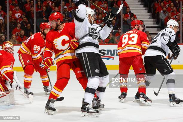 Matt Bartkowski of the Calgary Flames skates against the Los Angeles Kings during an NHL game on March 19, 2017 at the Scotiabank Saddledome in...
