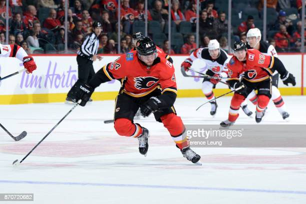 Matt Bartkowski of the Calgary Flames skates against the New Jersey Devils during an NHL game on November 5, 2017 at the Scotiabank Saddledome in...