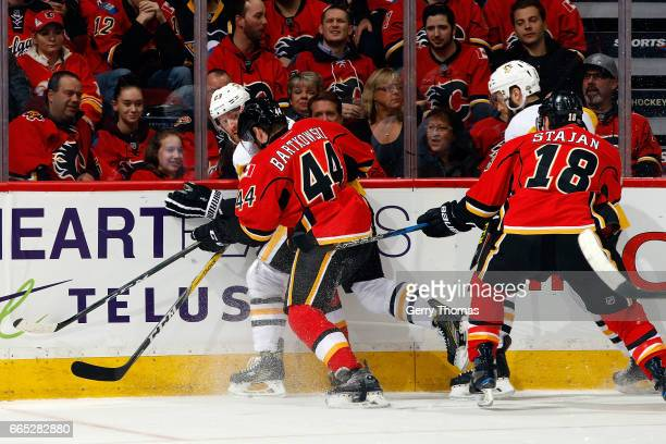 Matt Bartkowski of the Calgary Flames skates against the Pittsburgh Penguins during an NHL game on March 13, 2017 at the Scotiabank Saddledome in...