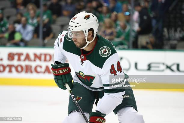 Matt Bartkowski of the Minnesota Wild during a preseason game at American Airlines Center on September 24 2018 in Dallas Texas