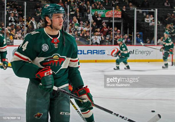 Matt Bartkowski of the Minnesota Wild warms up before a game with the Pittsburgh Penguins at Xcel Energy Center on December 31 2018 in St Paul...