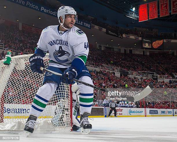 Matt Bartkowski of the Vancouver Canucks follows the play during an NHL game against the Detroit Red Wings at Joe Louis Arena on December 18, 2015 in...
