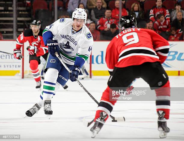 Matt Bartkowski of the Vancouver Canucks in action against the New Jersey Devils during the third period at the Prudential Center on November 8 2015...