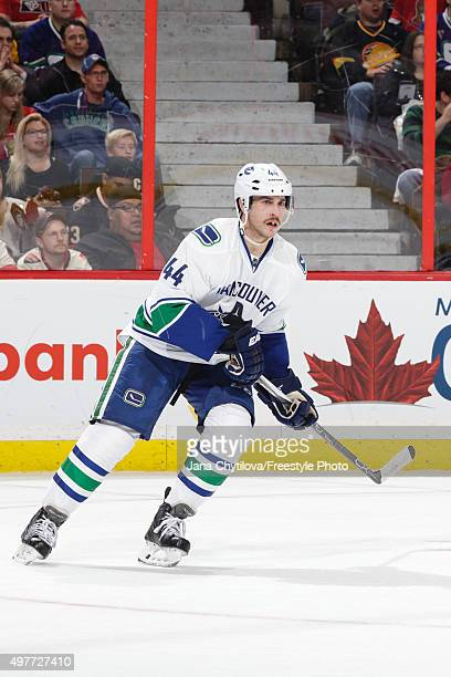 Matt Bartkowski of the Vancouver Canucks skates during an NHL game against the Ottawa Senators at Canadian Tire Centre on November 12 2015 in Ottawa...
