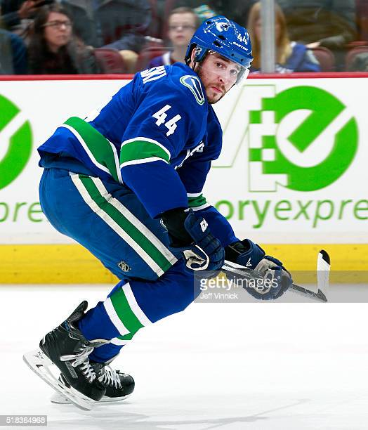 Matt Bartkowski of the Vancouver Canucks skates up ice during their NHL game against the Arizona Coyotes at Rogers Arena March 9, 2016 in Vancouver,...