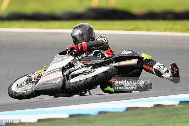 Matt Barton of Australia and the Suus Honda crashes during Moto3 practise before qualifying for the 2016 MotoGP of Australia at Phillip Island Grand...