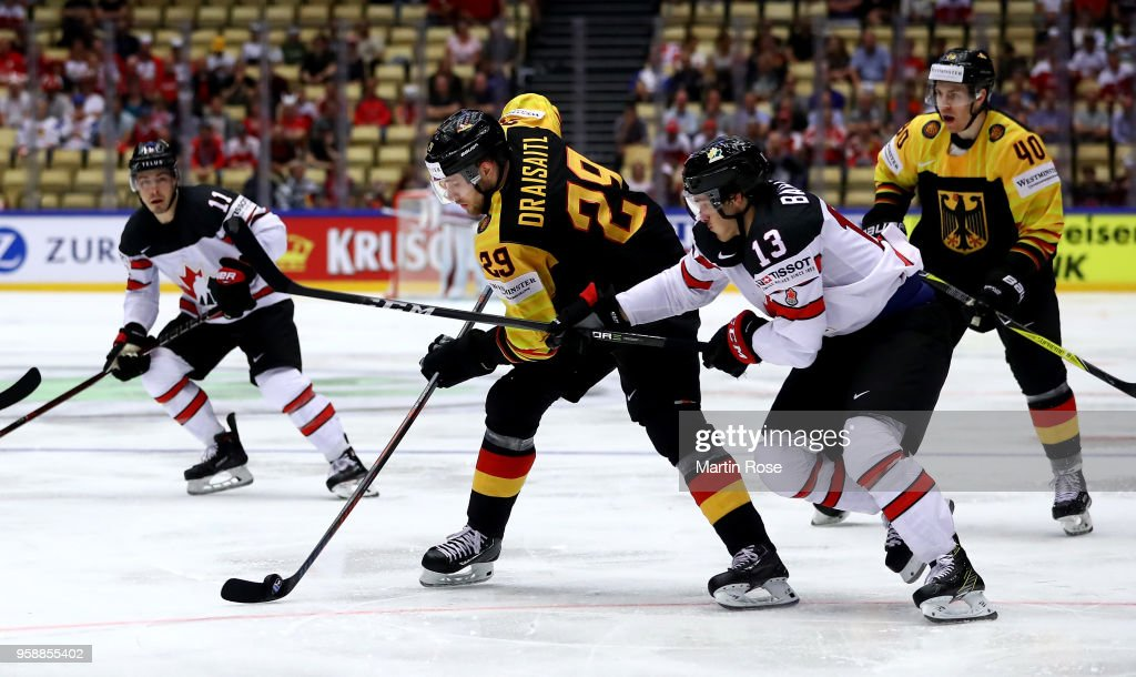 promo code 749bf 6f156 Matt Barzal of Canada and Leon Draisaitl of Germany battle ...