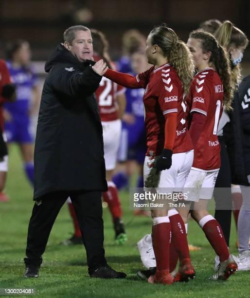 Matt Beard, Interim Head Coach of Bristol City celebrates with Ebony Salmon of Bristol City following the FA Women's Continental League Cup Semi...