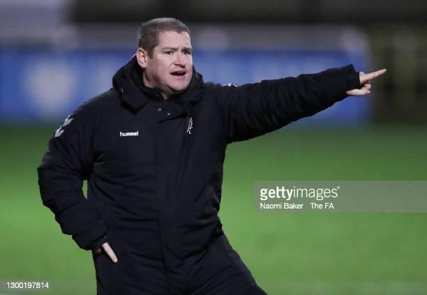 Matt Beard, Interim Head Coach of Bristol City reacts during the FA Women's Continental League Cup Semi Final match between Bristol City and...