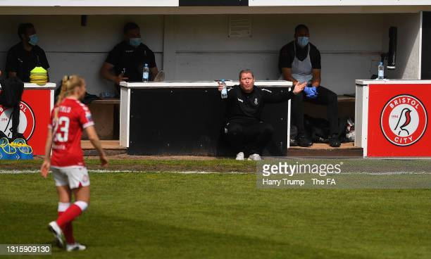 Matt Beard, Interim Manager of Bristol City gives instructions to their side during the Barclays FA Women's Super League match between Bristol City...