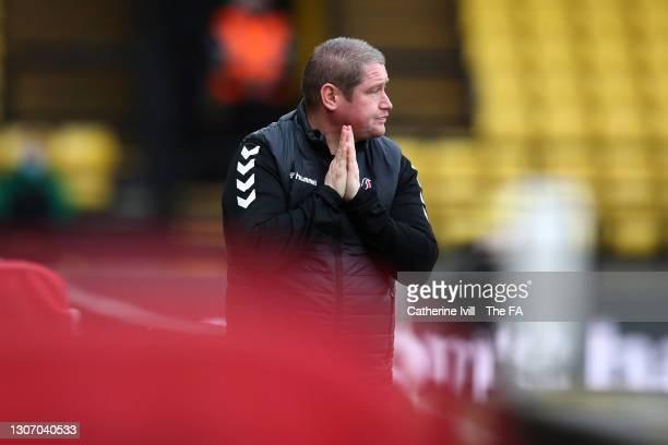 Matt Beard, Interim Manager of Bristol City reacts during the FA Women's Continental Tyres League Cup Final match between Bristol City Women and...