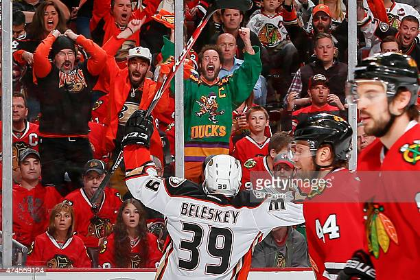 Matt Beleskey of the Anaheim Ducks reacts after scoring against the Chicago Blackhawks in the third period in Game Four of the Western Conference...