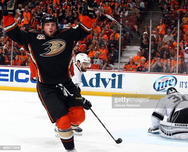 Matt Beleskey of the Anaheim Ducks scores against the Los Angeles Kings in Game One of the Second Round of the 2014 Stanley Cup Playoffs at Honda...
