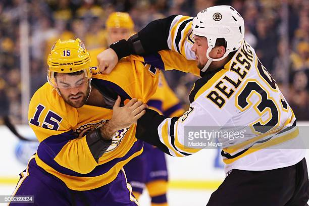 Matt Beleskey of the Boston Bruins and Andy Andreoff of the Los Angeles Kings figth during the second period at TD Garden on February 9 2016 in...