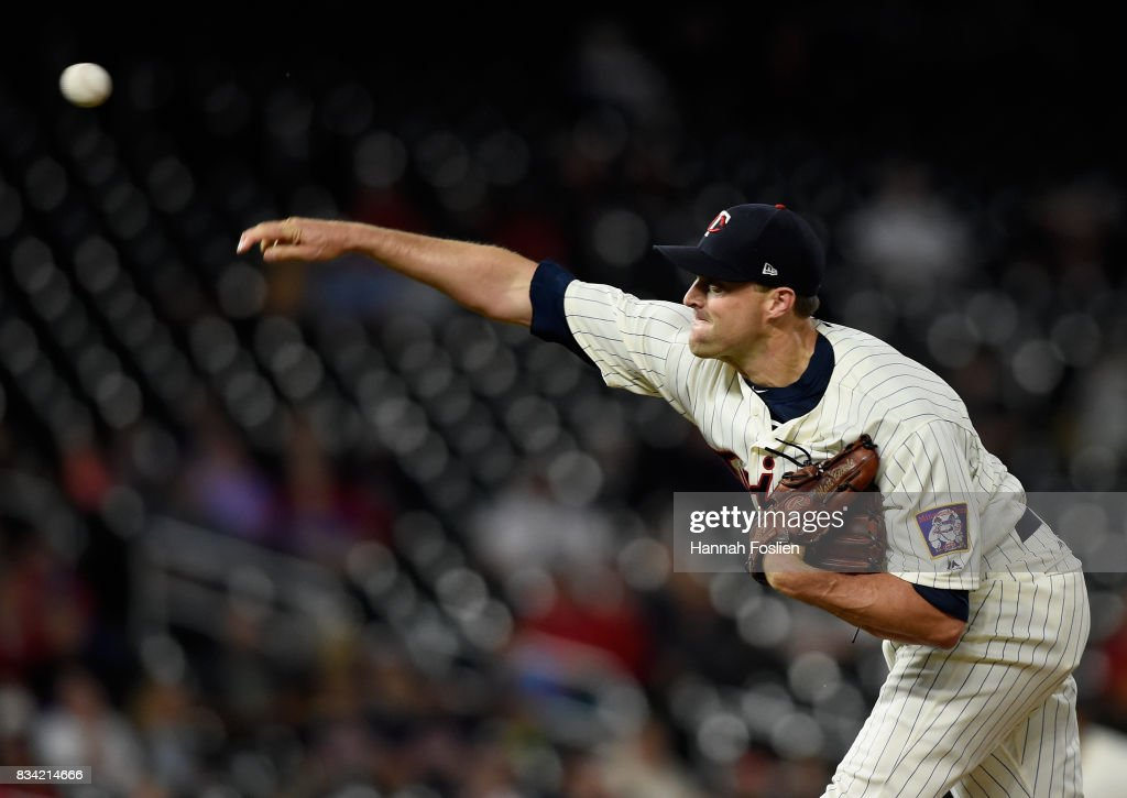 Matt Belisle #9 of the Minnesota Twins delivers a pitch against the Cleveland Indians during the ninth inning in game two of a doubleheader on August 17, 2017 at Target Field in Minneapolis, Minnesota. The Twins defeated the Indians 4-2.