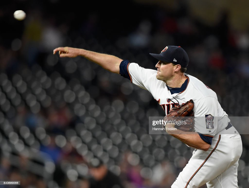 Matt Belisle #9 of the Minnesota Twins delivers a pitch against the Chicago White Sox during the ninth inning of the game on August 29, 2017 at Target Field in Minneapolis, Minnesota. The Twins defeated the White Sox 6-4.