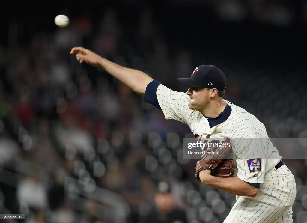 Matt Belisle #9 of the Minnesota Twins delivers a pitch against the San Diego Padres during the ninth inning of the game on September 13, 2017 at Target Field in Minneapolis, Minnesota. The Twins defeated the Padres 3-1 in ten innings.