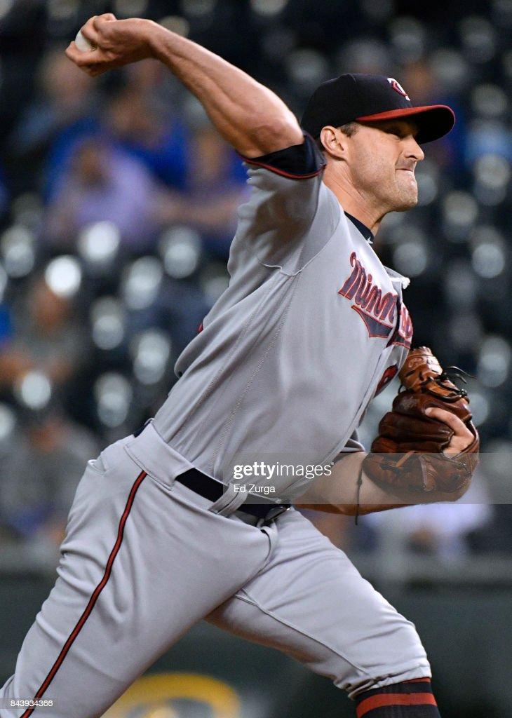 Matt Belisle #9 of the Minnesota Twins throws in the ninth inning against the Kansas City Royals at Kauffman Stadium on September 7, 2017 in Kansas City, Missouri.