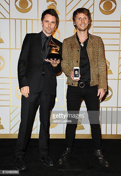 Matt Bellamy and Dominic Howard of the band Muse poses in the press room at the The 58th GRAMMY Awards at Staples Center on February 15 2016 in Los...