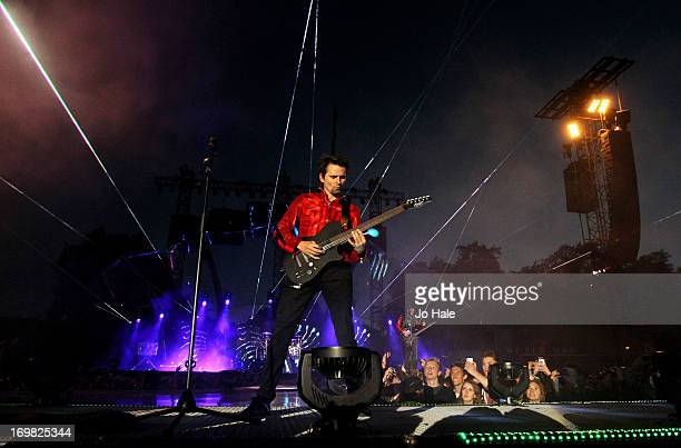 Matt Bellamy of Muse performs at the 'World War Z' World Premiere at Horse Guards Parade on June 2, 2013 in London, England.