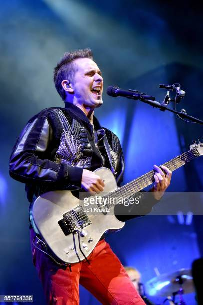 Matt Bellamy of Muse performs on Downtown Stage during day 2 of the 2017 Life Is Beautiful Festival on September 23 2017 in Las Vegas Nevada