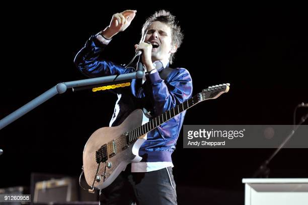 Matt Bellamy of Muse performs on stage at FedExField on September 29, 2009 in Landover, Maryland.