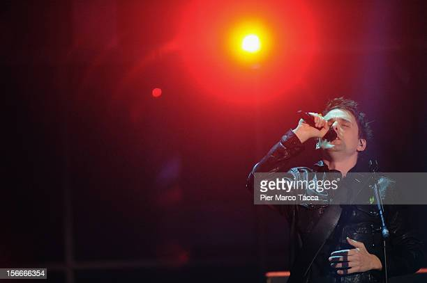 Matt Bellamy of Muse performs on stage during 'Che Tempo Che Fa' Italian TV Show on November 18, 2012 in Milan, Italy.