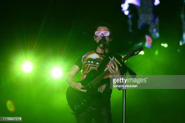 Matt Bellamy of Muse performs on stage during day two of Formula 1 Singapore Grand Prix at Marina Bay Street Circuit on September 21, 2019 in...