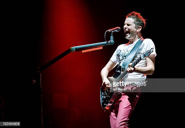 Matt Bellamy of 'Muse' performs on The Pyramid Stage during Day 3 of the Glastonbury Festival on June 26 2010 in Glastonbury England This year sees...