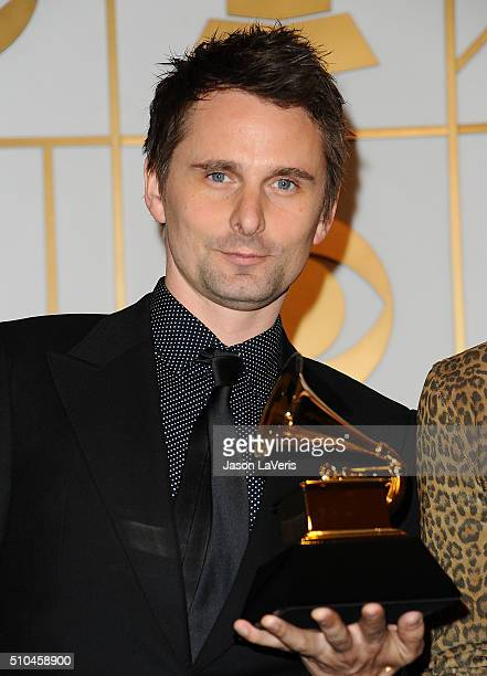 Matt Bellamy of Muse poses in the press room at the The 58th GRAMMY Awards at Staples Center on February 15 2016 in Los Angeles California