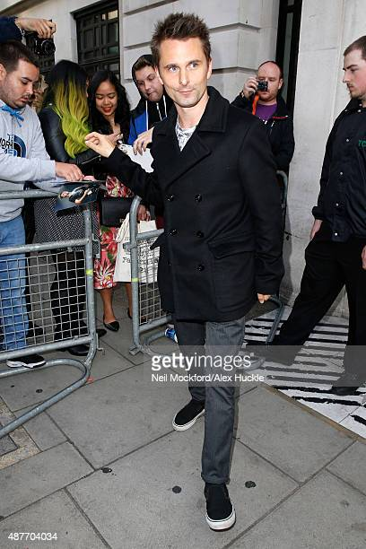 Matt Bellamy seen leaving the BBC Radio 2 Studios on September 11 2015 in London England Photo by Neil Mockford/Alex Huckle/GC Images