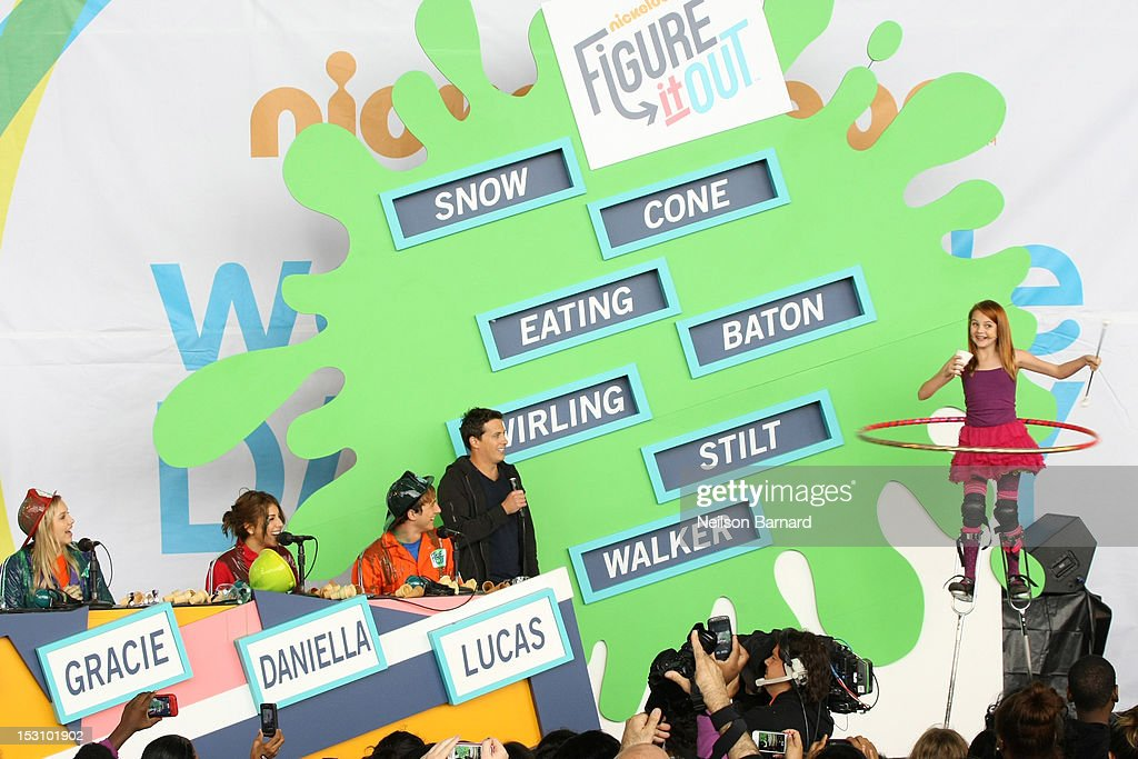 Matt Bennett, Gracie Dzienny, Daniella Monet and Lucas Cruikshank play 'Figure it out' with host Jeff Stuphen on stage as part of the Nickelodeon World Wide Day of Play Celebration during NYC Big Brothers Big Sisters RBC Race for the Kids Event in Riverside Park on September 29, 2012 in New York City.