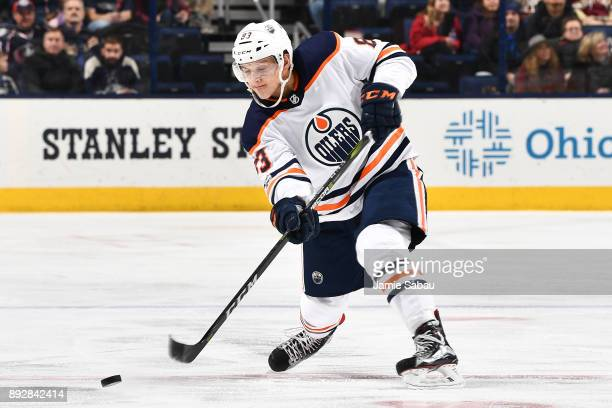 Matt Benning of the Edmonton Oilers skates against the Columbus Blue Jackets on December 12 2017 at Nationwide Arena in Columbus Ohio