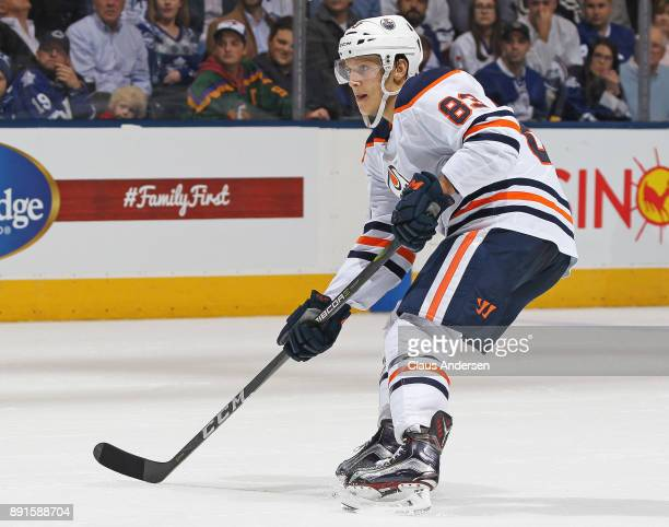 Matt Benning of the Edmonton Oilers skates against the Toronto Maple Leafs during an NHL game at the Air Canada Centre on December 10 2017 in Toronto...