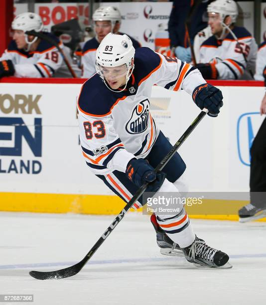 Matt Benning of the Edmonton Oilers skates in an NHL hockey game against the New York Islanders at Barclays Center on November 7 2017 in the Brooklyn...