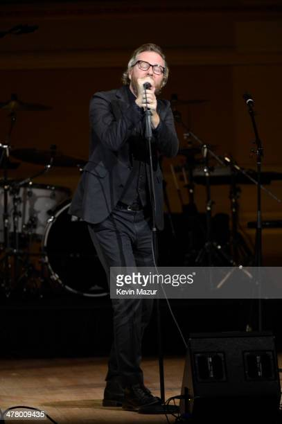 Matt Berninger of The National performs during the 2014 Tibet House Benefit concert at Carnegie Hall on March 11 2014 in New York City