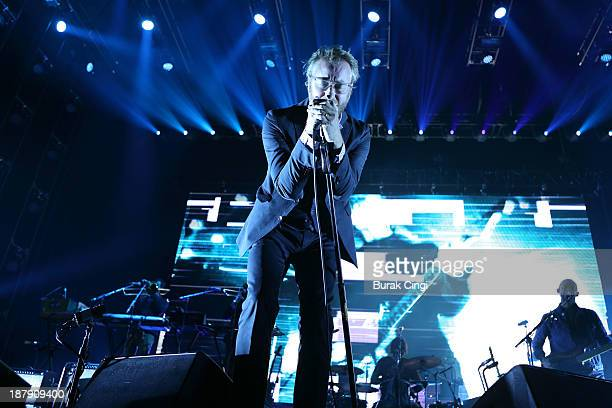Matt Berninger of The National performs on stage at Alexandra Palace on November 13 2013 in London United Kingdom