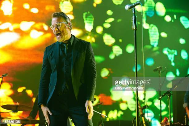 Matt Berninger of the National performs on stage at Manchester Apollo on November 11 2013 in Manchester United Kingdom