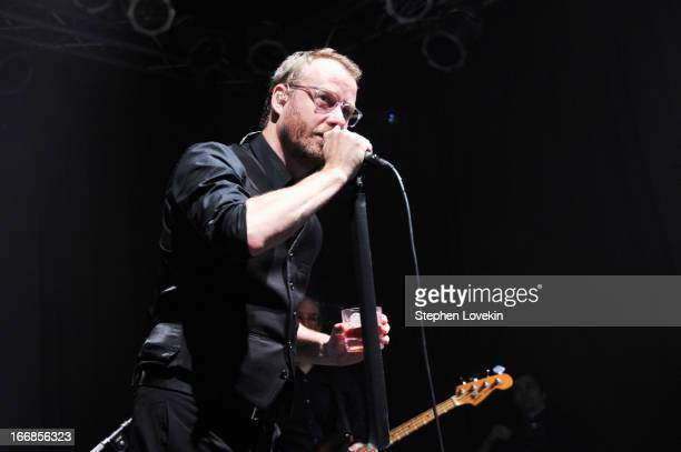 Matt Berninger of The National performs on stage at the Opening Night After Party and Performance during the 2013 Tribeca Film Festival on April 17...