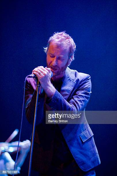 Matt Berninger of The National performs on stage at the Royal Festival Hall on August 10 2009 in London England