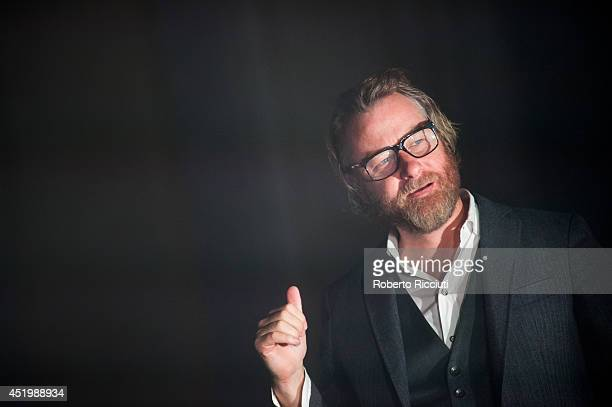 Matt Berninger of The National performs on stage at Usher Hall on July 10 2014 in Edinburgh United Kingdom