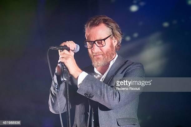 Matt Berninger of The National performs on stage at Usher Hall on July 10, 2014 in Edinburgh, United Kingdom.