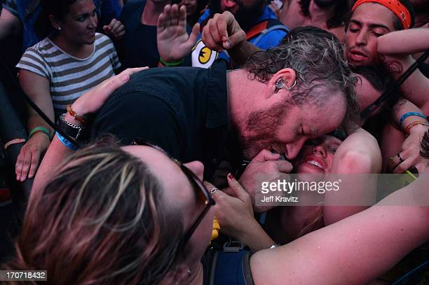 Matt Berninger of The National performs onstage at What Stage during day 4 of the 2013 Bonnaroo Music Arts Festival on June 16 2013 in Manchester...