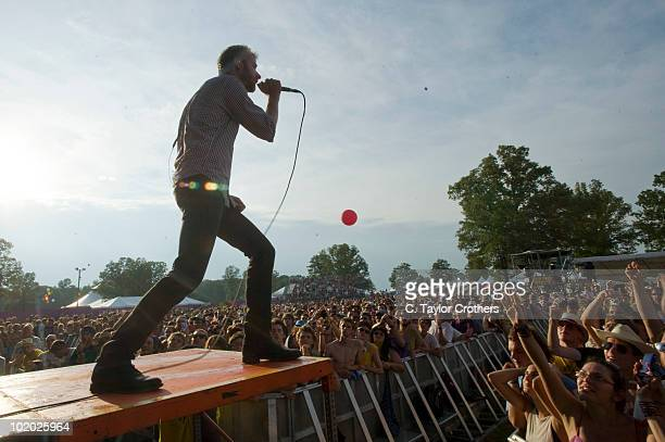 Matt Berninger of The National performs onstage during Bonnaroo 2010 at Which Stage on June 11 2010 in Manchester Tennessee