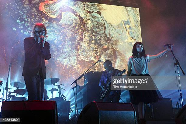 Matt Berninger of The National performs with Lauren Mayberry of Chvrches during the Treasure Island Music Festival on Treasure Island on October 18...