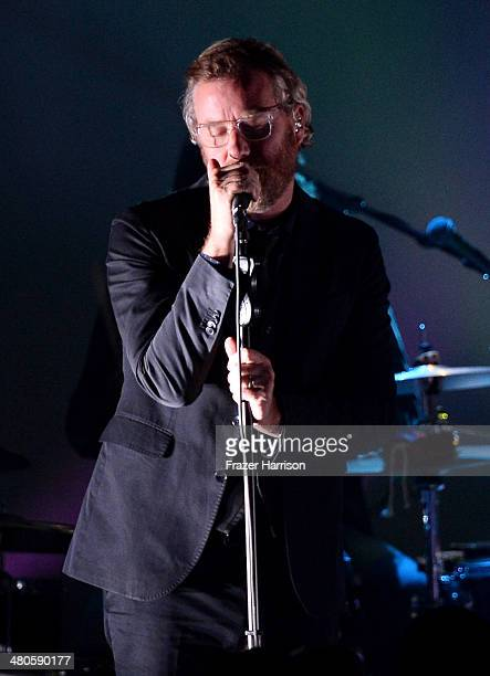 Matt Berninger performs onstage during a special performance by The National at the Los Angeles Screening Of 'Mistaken For Strangers' at The Shrine...