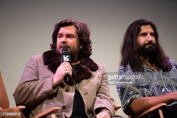"""Matt Berry and Kayvan Novak attend the """"What We Do in the Shadows"""" Premiere 2019 SXSW Conference and Festivals at the Paramount Theater at Stateside..."""