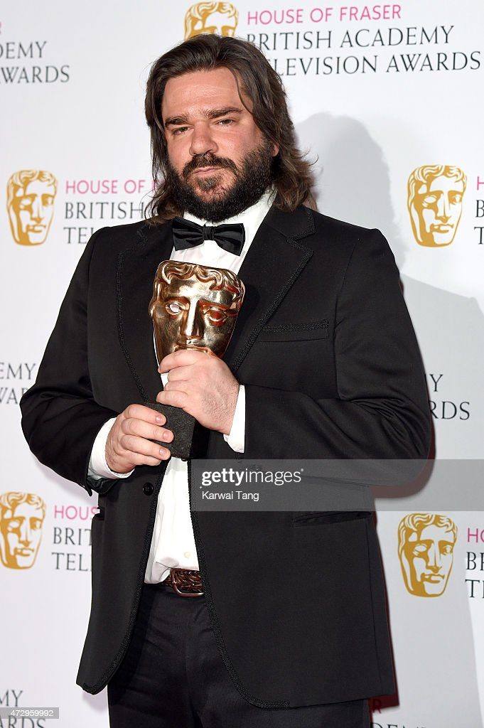 Matt Berry winner of Best Male in a Comedy poses in the winners room at the House of Fraser British Academy Television Awards at Theatre Royal on May 10, 2015 in London, England.