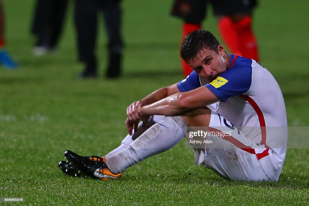 Matt Besler of the United States mens national team reacts as the USA lose to Trinidad and Tobago 2-1 during the FIFA World Cup Qualifier match between Trinidad and Tobago at the Ato Boldon Stadium on October 10, 2017 in Couva, Trinidad And Tobago.